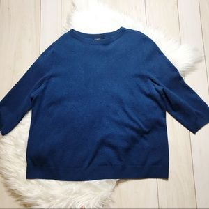 Talbots Blue Pure Cashmere 3/4 Sleeve Sweater